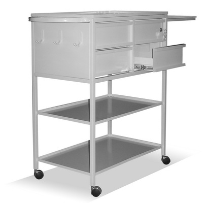 The 3-shelf table-trolley with 4 drawers